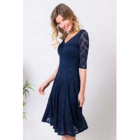 ROBE REGINE NAVY DENTELLE
